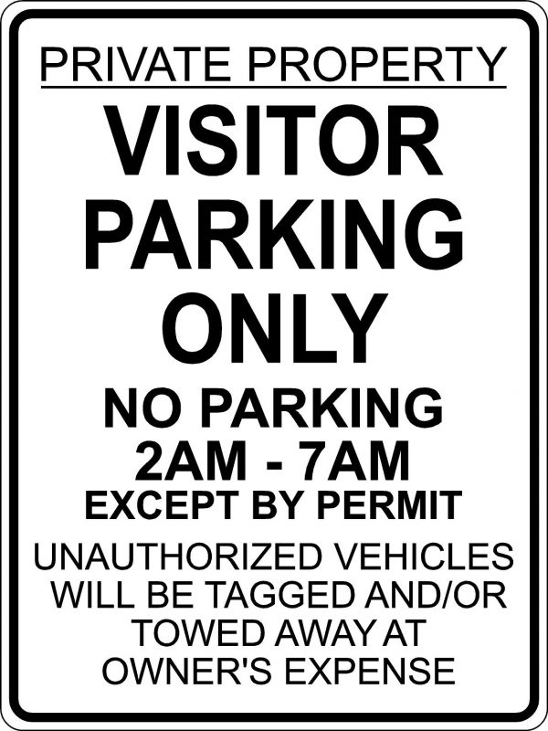 Visitor Parking Except by Permit Sign