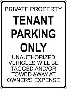 Tenant Parking Only sign