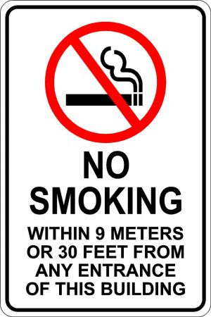No Smoking Near Entrance Sign