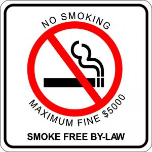 No Smoking. Smoke Free by-Law Sign