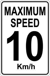 Maximum Speed 10 km/hr Sign - White Background