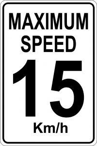 Maximum Speed 15 km/h Sign