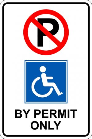 Handicap Parking by permit only sign