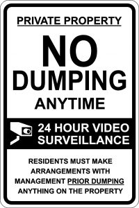 No Dumping Anytime. 24 Hour Surveillance Sign - Black