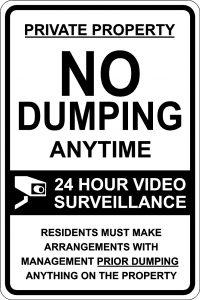 No Dumping Anytime. 24 Hour Surveillance Sign - Black