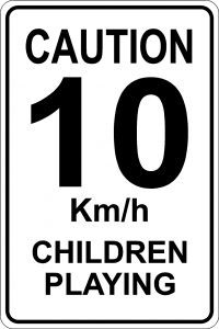 Caution-10 Km/h Children at Play Sign - White Background
