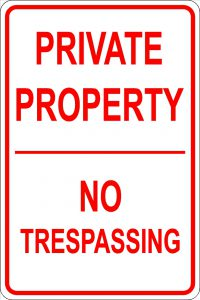 Private Property No Trespassing Sign - Red