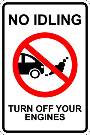 No Idling. Turn Off Your Engines Sign