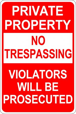 Private Property - No Trespassing - No Loitering Sign - White Font Red Background