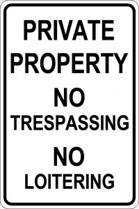 Private Property - No Trespassing - No Loitering Sign - Black Font White Background